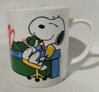 """Peanuts 1965 Snoopy and Woodstock """"Boss"""" Coffee Mug 3"""" Vintage"""