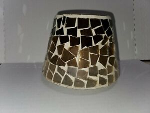"""Brown Copper Mosaic Glass Candle Shade 4.25"""""""