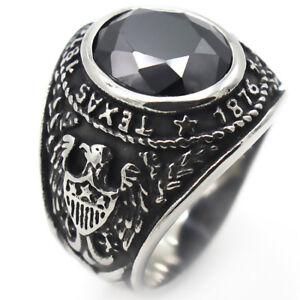 TEXAS 1876 UNIVERSITY RING STAINLESS STEEL BLACK AGATE EAGLE BIKER GOTHIC RING