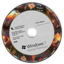 Windows 7 Home Premium 32-bit edition full version DVD disc + License Key