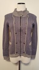 SHAE Blue & Gray Cotton Cashmere Sweater Zipper Up Sz L