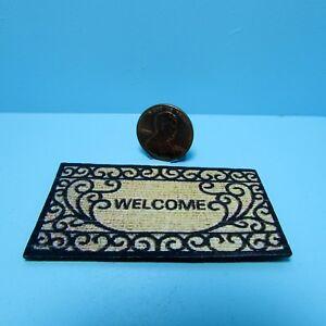 Dollhouse Miniature Welcome Door Mat with Scroll Design RND164