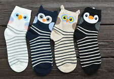 Striped Cute Owl / Bird Ladies Womens Girls Socks Combed Cotton Great Quality
