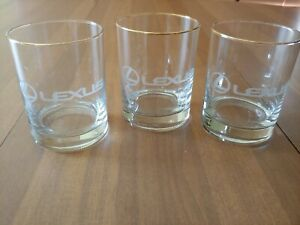 3 Lexus Gold Rimmed Beverage Glasses