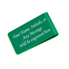 Personalized Free Engraved Green Money Clip Plus free Shipping