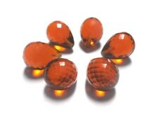 Hessonite Color Quartz Faceted Teardrops Beads Half Drill-10x13 mm-6 piece