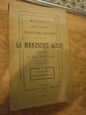 Heuptevent Mémoires pour servir l'histoire de Vire Le manuscrit Lecoq Normandie