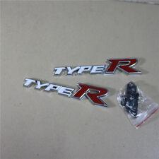TYPE-R White Metal Grille Emblem + Badge Sticker civic mugen Hatchback Coupe fit