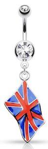 NEW & SEALED - ENGLAND UNION JACK  Flag Dangle Belly Navel Bar Barbell