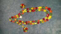Orange, yellow, green, and red beaded necklace & clip on earring set with clasp