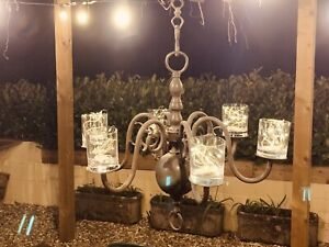 Chabby Chic Exterior Dining Antique Solid Brass Chandelier + Tea & Fairy Lights