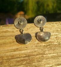 Beautiful Grey Sapphire Gemstone Earrings. Sterling Silver925. Labradorite