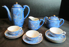 Betson Demittasse Tea Set Tea Service 12 Piece Dragon Blue Hand Painted Delicate