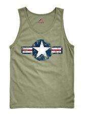 US AIRBORNE vintage étoile armée Air Corps Débardeur Shirt T-shirt OD VERT M