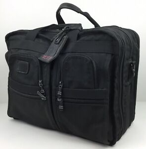 TUMI Alpha Ballistic Nylon Briefcase Bag Black 2674D3 USA Weekender Carry-On