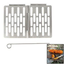 Folding Grill Plate Portable BBQ Stainless Steel Mini Shelf Outdoor Picnic .mc