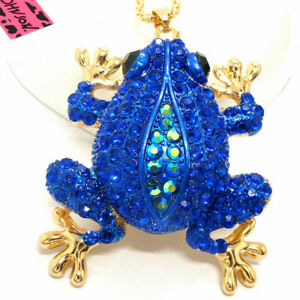 New Betsey Johnson Blue Enamel Cute Frog Crystal Animal Pendant  Chain Necklace