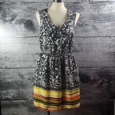 Bebop Sun Dress sz XL Black White Bright Colors Fit and Flare Sleeveless