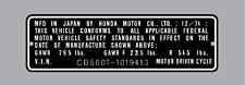 HONDA CB500T  HEADTUBE TAG  / REPRO DECAL