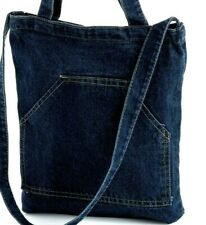 Shoulder bag Double handles Blue Denim jeans look pocket front-zip top-fashion