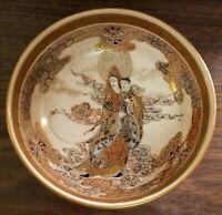 Late 19th Century Japanese Satsuma Porcelain Kwan Yin Holding Child Motif Bowl