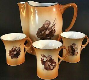 """ANTIQUE FRIAR TUCK MONK PITCHER & CUPS PORTRAIT LARGE 9""""W GOLD TRIM PORCELAIN"""