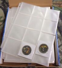 10x 12 Pocket Pages 2.5 x 2.5 GUARDHOUSE Coin Holders Flips Capsules Cases Snaps