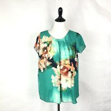 Kate & Mallory Floral Pattern Top Pleated Front Short Sleeve Blouse Women Size M