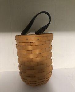 Longaberger Gate Basket Leather Strap and Plastic Liner Hang on Hook or Door
