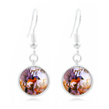 16Mm Glass Cabochon Long Earrings #45 Bird and Flower Tibet Silver Dome Photo