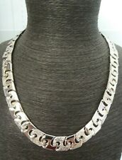 Solid Sterling Silver Patterned Link Men's Chain - 114 grams - Heavy - 24