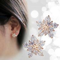 1Pair Fashion Women Crystal Rhinestone Ear Stud Snow Flower Earrings Jewelry New