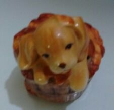 Avon Ceramic Puppy Laying on Basket of Leaves Potpourri Collectible Shaker