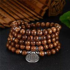 Bracelet Mala de méditation 108 perles en bois Wengé et breloque Fleur de vie