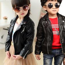 New Kids Pu Leather Baby Girls Jacket Zipper Coat Especially 2-5 years Old Coat
