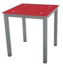 Mesa de cocina de cristal color rojo y base metálica reforzada 74x70x70