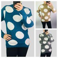 Bon Marche Womens Ladies Camel Grey Blue Large Spot Soft Knit Jumper Size 10-18