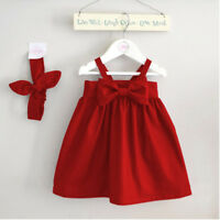Newborn Baby Girl Kid Red Sundress Bowknot Short Dress Outfit Dresses 0-3YEAR