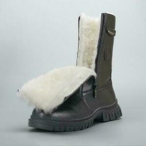 Mens Fashion PU Leather Lamb Fur Lined Winter Warm Snow Mid Calf Boots Shoes Hot
