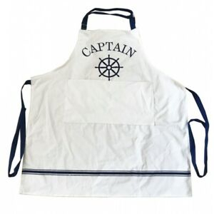 CAPTIAN COOKING APRON WHITE & BLUE POCKET ADJUSTABLE NECK STRAP NAUTICAL BOAT