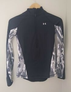 Under Armour ColdGear Printed 1/2 Zip Pullover Top XS  Black Gym Run