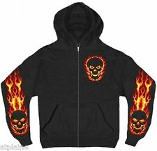 Sweat capuche zippé FLAME SKULL - Taille XL - Style BIKER HARLEY