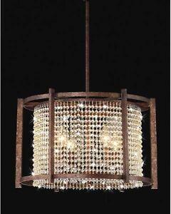 4-light Dark Brown Crystal Chandelier Pendant