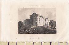 C1815 Antiguo Pequeño georgiano impresión ~ Chateau de glammis Glamis Castle Angus