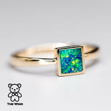 Geometric Design Square Shaped Australian Doublet Opal Ring 14K Yellow Gold