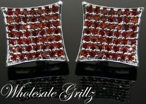 Mens $130 Simulate RED Diamond Hip Hop Earrings 14k WHITE GOLD Gp iced Bling Out