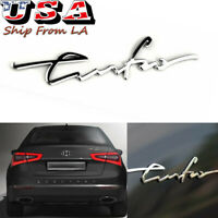 3D Chrome Cursive Turbo Letter Emblem Rear Trunk Badge For BRENTHON Hyundai Kia