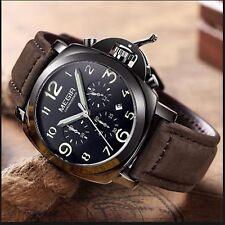 Montre Pour Homme MEGIR De Luxe Chronographe Date Bracelet En CUIR VÉRITABABLE