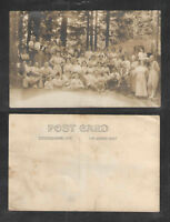 1910s FAMILY REUNION ? CAMPING ? RETREAT ?  RPPC REAL PICTURE POSTCARD