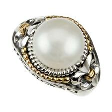 Cultured Pearl Fleur de Lis Ring in Sterling Silver and 14k Yellow Gold
